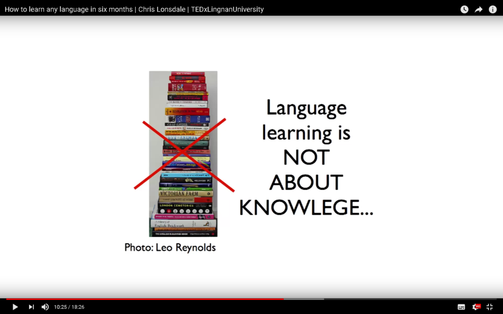 Language learning is not knowledge