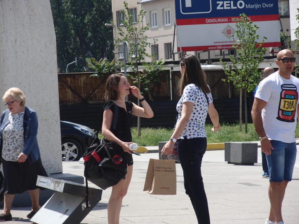 ボスニア・ヘルツェゴヴィナの首都サラエヴォ。シティーセンター前。