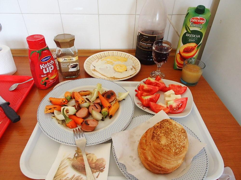 今日の朝食&セルビアでの生活費用