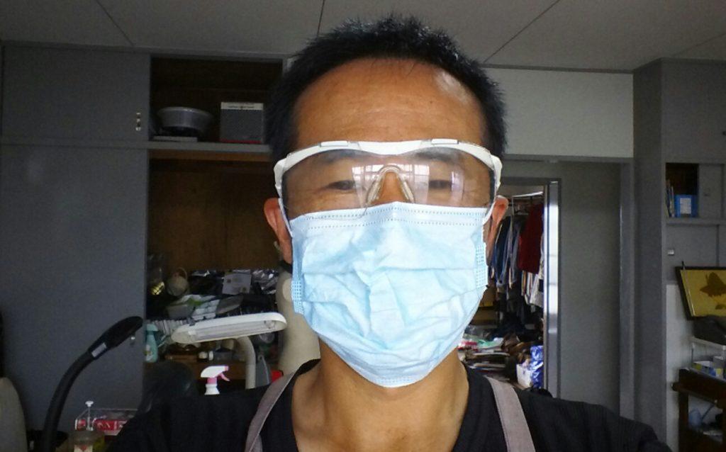 作業用ゴーグルとマスク