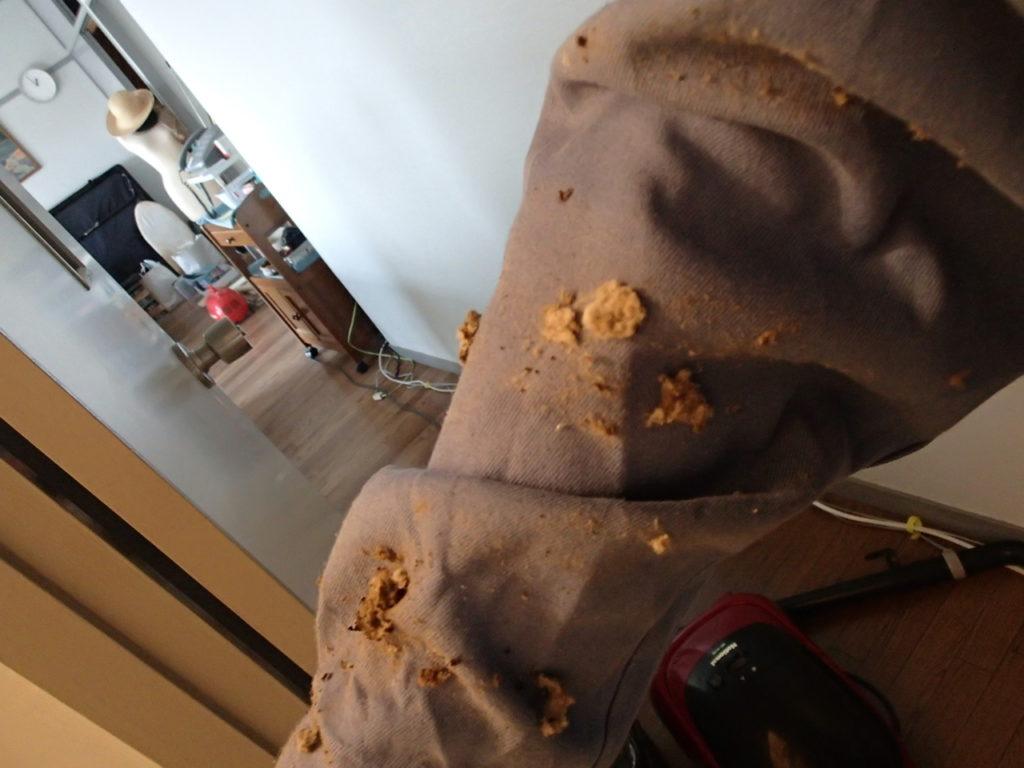 袖(そで)にたまったホコリ